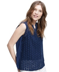 Violeta By Mango Plus Size Sleeveless Eyelet Top