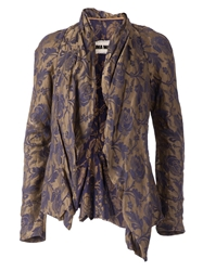 Uma Wang Floral Draped Open Front Blazer Pink And Purple