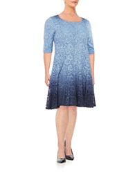 Chetta B Plus Flared Shimmer A Line Dress Navy