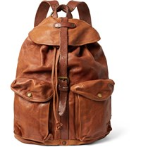 Rrl Riley Leather Backpack Tan