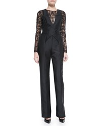 Zuhair Murad Long Sleeve Lace Top Jumpsuit Black