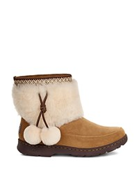 Ugg Brie Sheepskin Pom Pom Booties Chestnut
