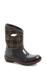 Bogs Women's 'Pimsoll Plaid' Mid High Waterproof Snow Boot With Cutout Handles Dark Grey