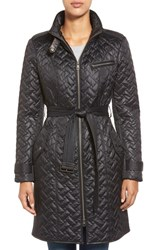 Women's Cole Haan Belted Quilted Coat Black