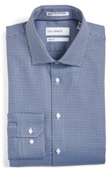 Calibrate Men's Big And Tall Trim Fit Non Iron Houndstooth Stretch Dress Shirt Blue Yonder