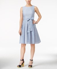 Tommy Hilfiger Illusion Striped Fit And Flare Dress Light Denim