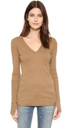 Enza Costa Cuffed V Top Camel