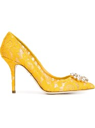 Dolce And Gabbana Embellished Lace Pumps Yellow And Orange