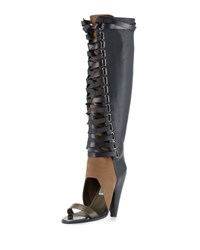 Ivy Kirzhner Alps Open Toe Lace Up Knee Boot Smoke Pumi