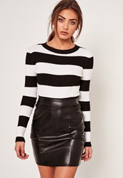 Missguided Black Whipstitch Panelled Faux Leather Mini Skirt