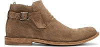 Officine Creative Tan Distressed Suede Boots