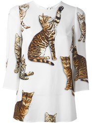 Dolce And Gabbana Cat Print Blouse White