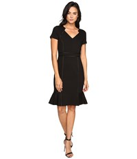 Nue By Shani V Neck Ponte Knit Dress With Side Flounce Black Women's Dress