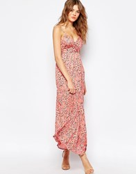 Traffic People Cami Maxi Dress In Ditsy Floral Print Pink