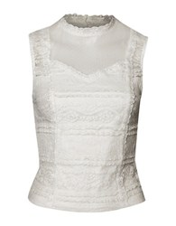 Dex Sleeveless Lace Bustier Top White