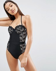 Asos Premium Lace Cupped Swimsuit Black Nude
