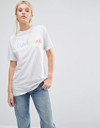 This Is Welcome Rainbow Classic Boyfriend T Shirt White