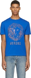 Versus Blue Rainbow Stud Lion Logo T Shirt