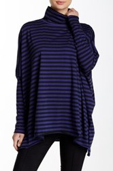 Planet Striped Swing Turtleneck Tunic Blue