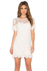 Band Of Gypsies Embroidered Mesh Dress White