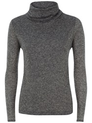 Jaeger Ribbed Roll Neck Top Charcoal