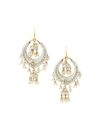 Chamak By Priya Kakkar Half Moon Station Drop Earrings White
