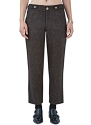 Renli Su Tweed Straight Leg Pants Brown