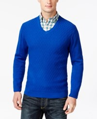 Club Room Big And Tall Diamond Knit Pattern V Neck Sweater Only At Macy's Cargo Blue