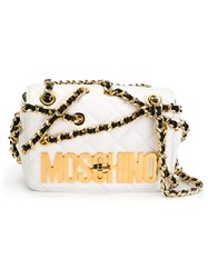 Moschino Quilted Crossbody Bag White