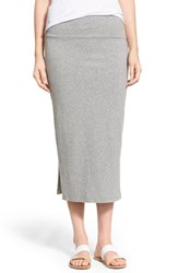 Women's James Perse Double Slit Stretch Jersey Midi Skirt