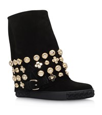 Casadei Chaucer Flower Stud Wedge Boots Female Black
