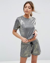 Asos Crop Top In Metallic Co Ord Gold