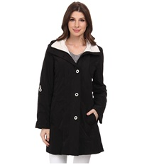 Rainforest Packable Slot Button Coat W Roll Tab Sleeve Black Women's Coat