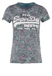 Superdry Print Tshirt Green Blue Grey