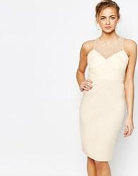 Little Mistress Embellished Pencil Dress With Pleated Mesh Cream