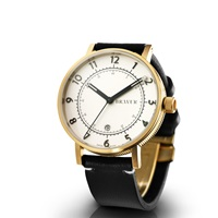 Bravur Watches Gold Case White Face And Black Strap Gold Black White