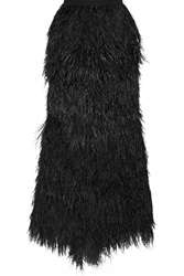 Haute Hippie Feather And Silk Maxi Skirt Black