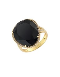 Effy 14 Kt. Yellow Gold Onyx And Diamond Ring Onyx Gold