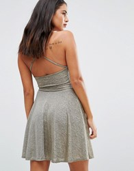 Wal G Halterneck Skater Dress Gold