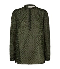 Michael Michael Kors Cheetah Print Flocked Blouse Female Green