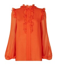 Giambattista Valli Ruffle Trim Long Sleeve Blouse Female Orange