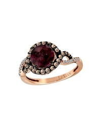 Le Vian Raspberry Rhodolite Chocolate Diamond Vanilla Diamond And 14K Rose Gold Ring Pink