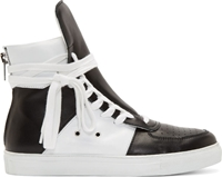 Krisvanassche Black And White Leather High Top Sneakers