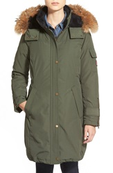 Pendleton 'North Shore' Genuine Coyote Fur Trim Down Parka Olive