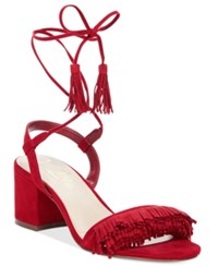Callisto Melz Lace Up Block Heel Dress Sandals Women's Shoes Red