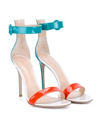 Gianvito Rossi Patent Portofino Sandals Turquoise White Orange Almond