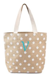 Cathy's Concepts Personalized Polka Dot Jute Tote White White V