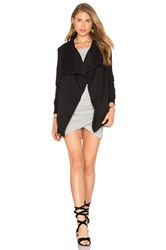 Bobi Cozy French Terry Long Sleeve Cardigan Black