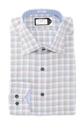 Lorenzo Uomo Plaid Dress Shirt Blue