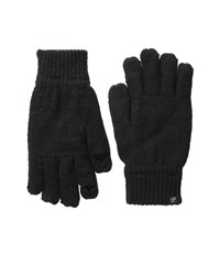 Plush Fleece Lined Metallic Knit Smartphone Gloves Black Dress Gloves